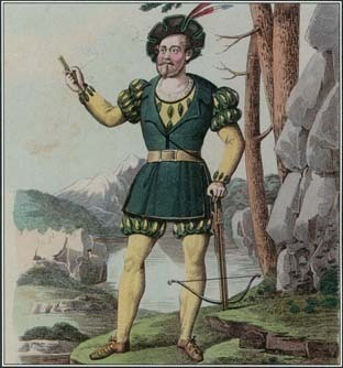William Tell is a Swiss hero and a symbol of independence. In this illustration, an actor plays the role of William Tell in Rossini