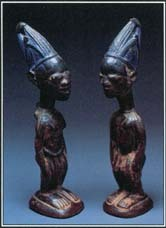 Twins that appear in the myths and legends of Africa can bring fortune or misfortune to families and communities. These figures from Yoruba, ibejis, are named after the deity of twins, Ibeji.