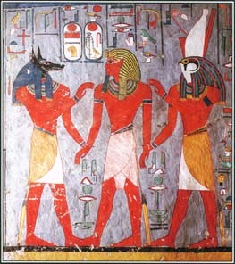 The idea of the afterlife played a central role in Egyptian religion. When humans died, their souls began a difficult journey through the underworld. This tomb painting of the 1200s B.C. shows Ramses I surrounded by deities in the underworld.
