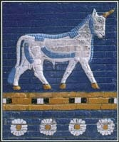 Unicorns are imaginary beasts that appear in legends from China, India, Mesopotamia, and Europe. This image of a unicorn is located on the Babylon Gate, one of the eight fortified gates that enclosed the ancient city of Babylon.