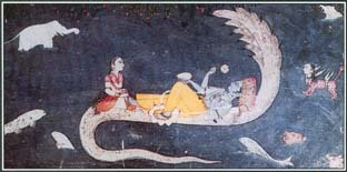In many Hindu stories, Vishnu helps humans and restores order to the world. While he sleeps, Vishnu is protected by Shesha, king of the serpents called Nagas. This illustration shows Shesha supporting Vishnu and his wife Lakshimi over the cosmic ocean.